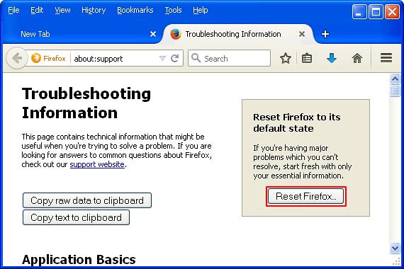 Click Reset Firefox