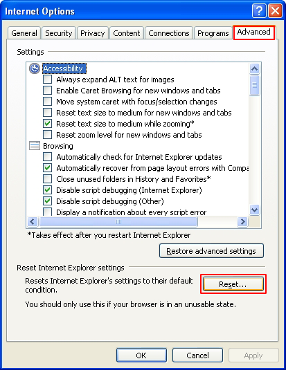 Click the Reset button under IE Internet Options