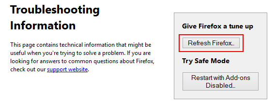 Click Refresh Firefox