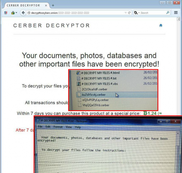 Get rid of Cerber ransomware and decrypt files with  cerber