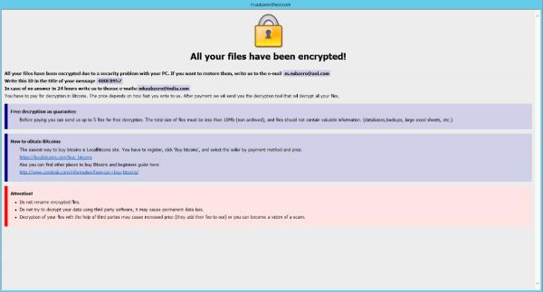 m.subzero@aol.com version of Dharma ransomware