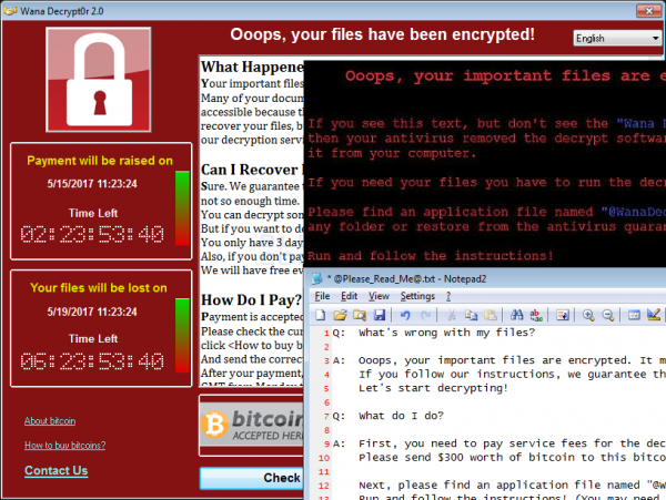 WannaCry ransomware screenshots