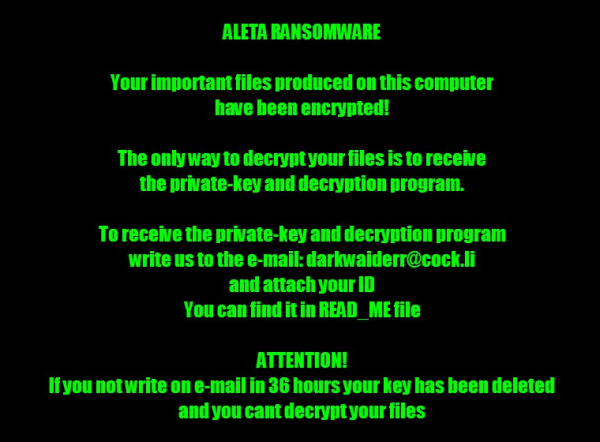 Averiasw@qq.com Aleta ransomware ransom note