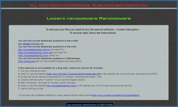 Losers Ransomware ransom note screenshot