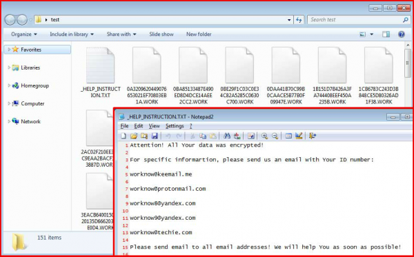 WORK file virus screenshots