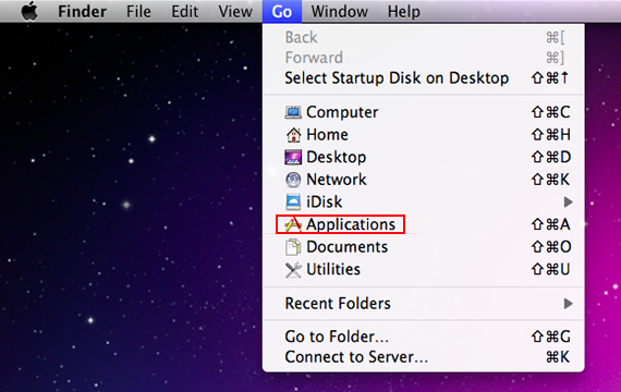 Select Applications in Finder's Go drop-down