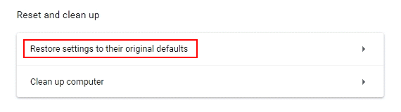 Restore settings to their original defaults button in Chrome
