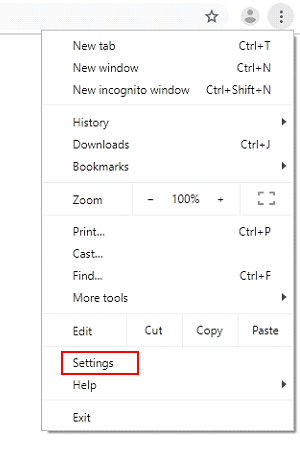 Select Settings in Chrome menu drop-down
